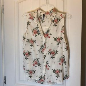 Floral Sleeveless Button Down Shirt H&M Blouse